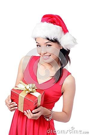 Christmas Girl Smile Holding Gift Box