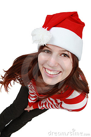 Christmas girl smiling - isolated