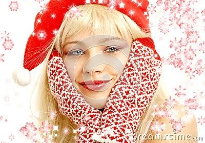 Christmas girl with snowflakes