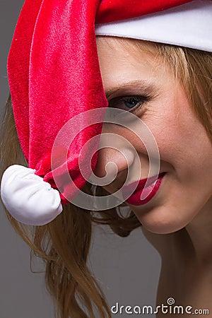 Christmas girl wearing santa hat