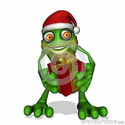 Free Christmas Giving Frog Stock Photography - 2819862