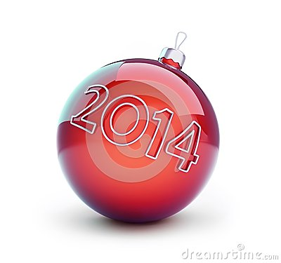 Christmas glass ball, new year 2014