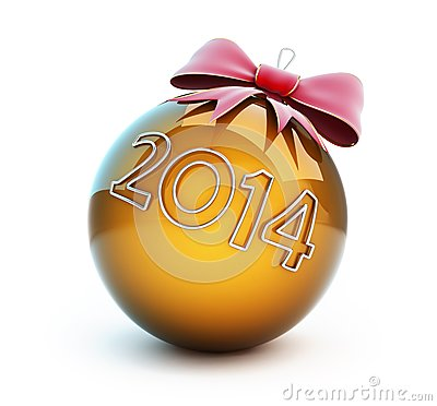 Christmas glass ball red bow