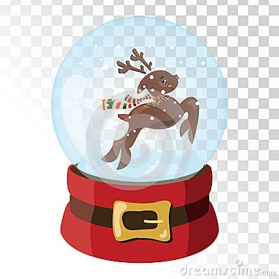 Christmas glass magic ball with Santa Claus deer. Transparent glass sphere with snowflakes. Vector illustration. Vector Illustration