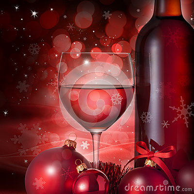 Free Christmas Glass Red Wine Background Stock Photo - 27308250
