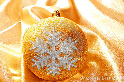 Christmas glitter golden snowflake bauble