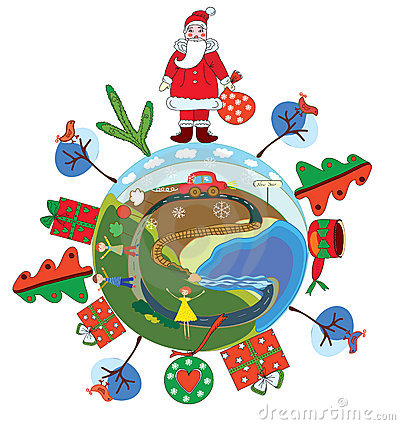 Christmas globe with santa claus