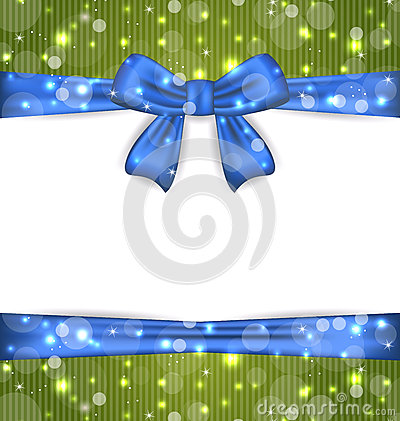 Christmas glowing card with ribbon bows