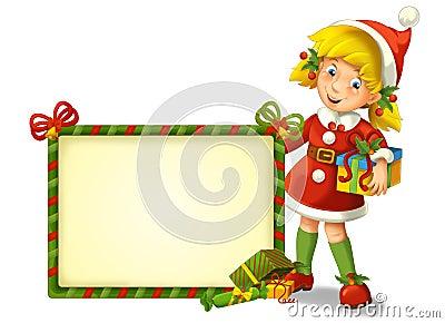 The christmas gnome - drawrf - illustration for the children