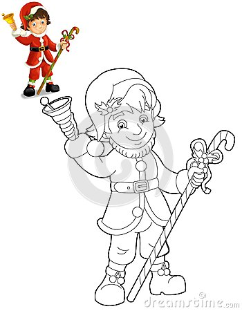 The christmas gnome - drawrf - illustration for the children