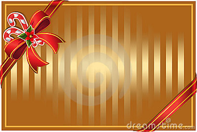 Christmas gold background with bow and candy