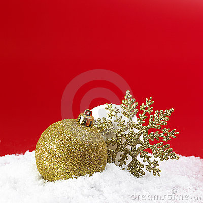 Christmas gold ball and snowball