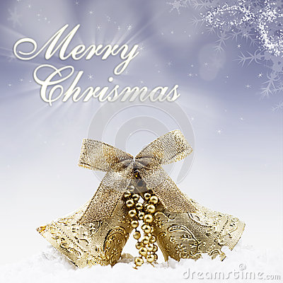 Christmas gold bell on blue lights background