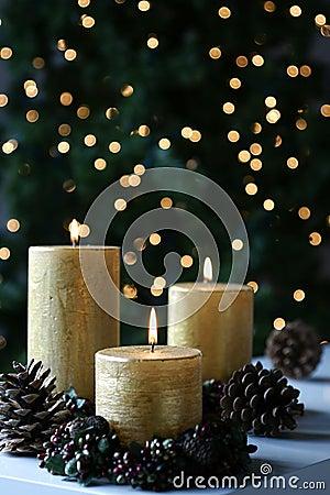 Christmas Gold Candles Xmas