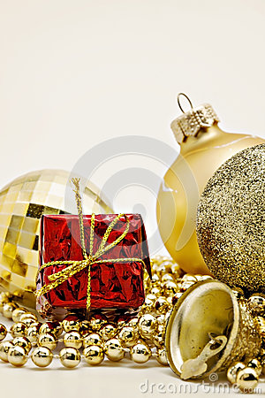 Free Christmas Gold Decoration, Balls, Beads, Bell Close Up Isolated Royalty Free Stock Images - 81888199