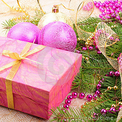 Christmas gold and pink with pine