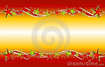 Christmas Gold Red Stars Ribbons