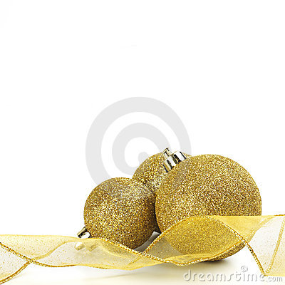 Christmas Gold Ribbon And Balls