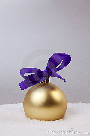 Christmas Golden Ball With Bow