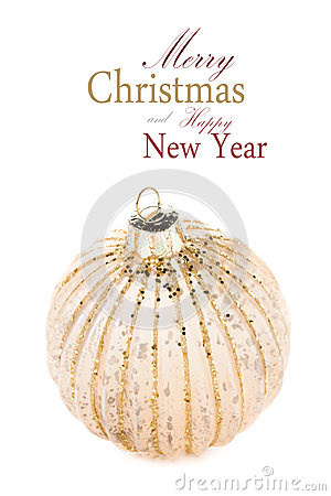 Christmas Golden  ball isolated on white background, festive dec