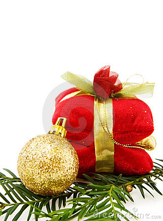 Christmas golden bauble and gifts