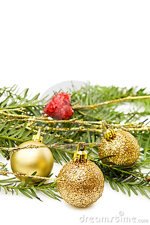 Christmas golden baubles and red heart