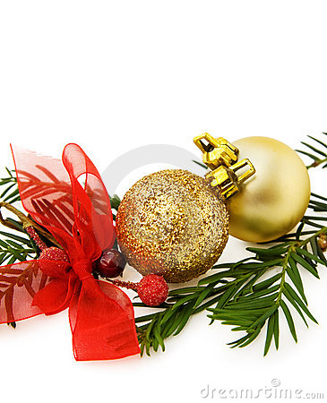 Christmas golden baubles and ribbons