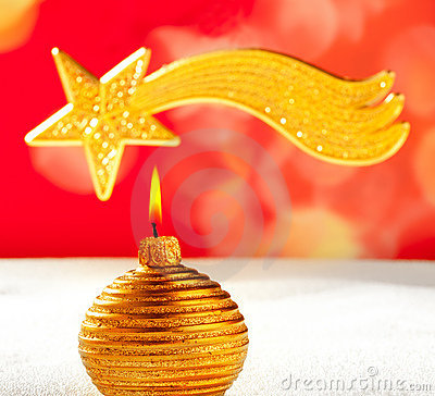 Christmas golden candle and bethlehem star