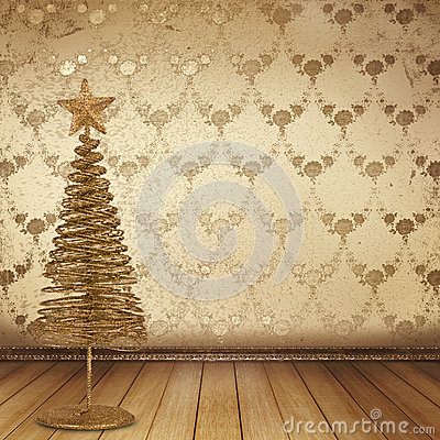 Christmas golden spruce in the old room