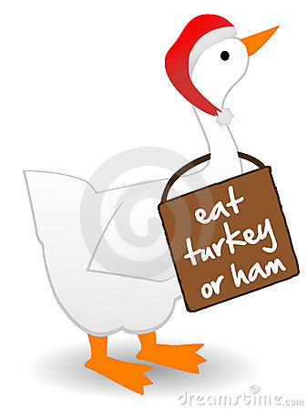 Christmas Goose wearing eat turkey sign anti-goose