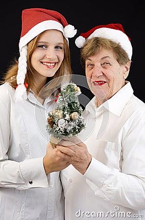 Christmas grandmother and granddaughter