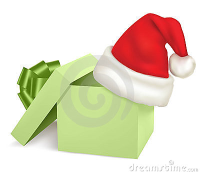 Christmas green box and santa hat.