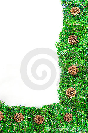 Christmas green frame with Pine needles isolated