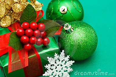 Christmas green gift box