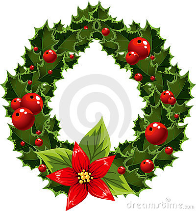 Christmas green and red embellishment with berry