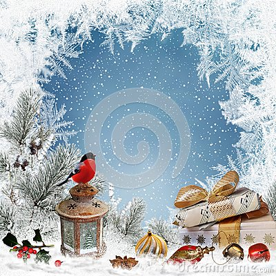 Christmas greeting background with place for text, gifts, bullfinch, lantern, christmas decorations, pine branches Stock Photo