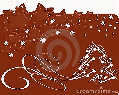 Christmas greeting card with christmas tree in red