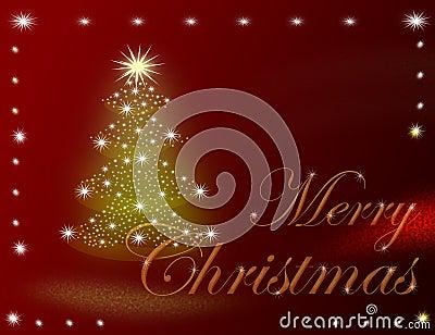 elegant christmas greeting card with tree