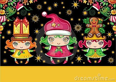 Christmas greeting card with cute  girls