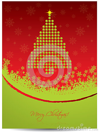Christmas greeting card design with tree