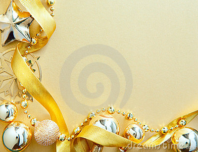 Christmas greeting card with golden tree decor