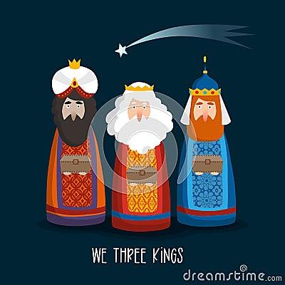 Christmas greeting card, invitation. Cute three magi bringing gifts. Biblical kings Caspar, Melchior, Balthazar and Vector Illustration