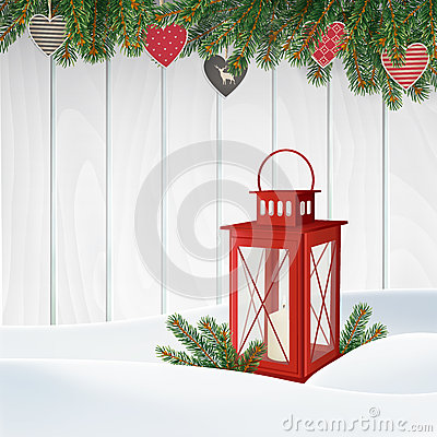Free Christmas Greeting Card, Invitation. Winter Scene, Red Lantern With Candle, Christmas Tree Branches, Twigs. Wooden Background. Stock Images - 78192434