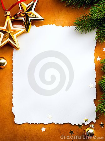 Christmas greeting card with paper on red backg