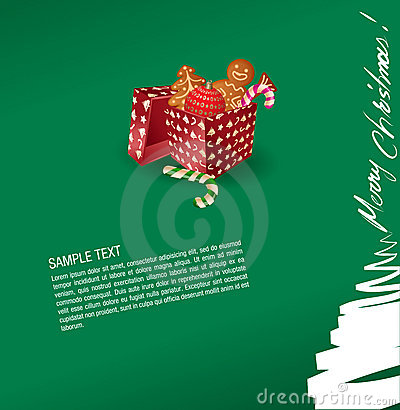 Christmas greeting card - present, sweet, gingerbr