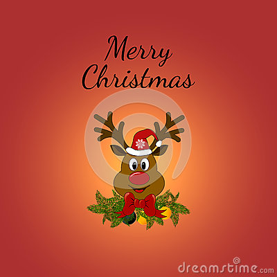 Christmas Greeting Card with Rudolph. Vector Illustration