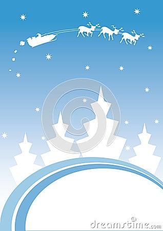 Christmas greeting card with Santa s sledge