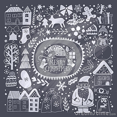 Christmas greeting card template, vector Merry Christmas. Winter holiday design, frame wreath design made of childish doodles: San Vector Illustration