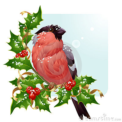 Christmas greeting card. Vector bullfinch