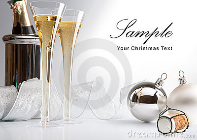 Christmas greeting card wiht champagne